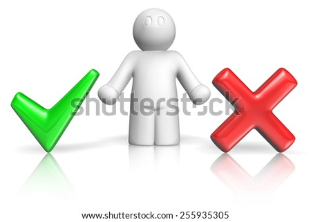 3d man choosing among green tick and red cross on white background - stock photo