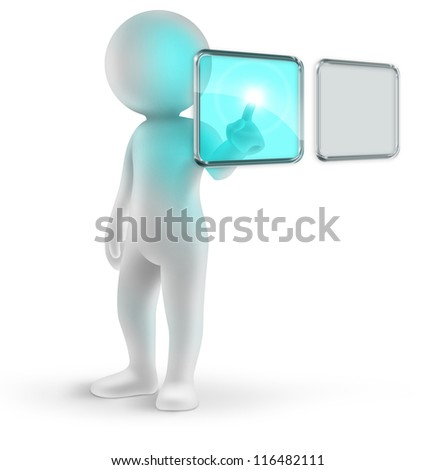 3d  man clicking on a digital touch screen - stock photo