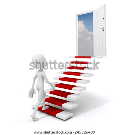 3d man climbing on a stai to success - stock photo