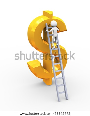 3d man climbing on golden dollar using ladder - stock photo