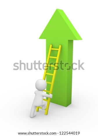3d man climbing on the arrow. 3d rendering. - stock photo