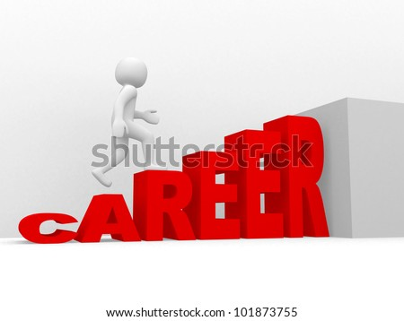 3d man climbs the ladder of career - 3d render - stock photo