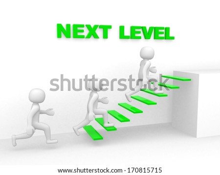 3d man climbs the ladder of next level - 3d render - stock photo