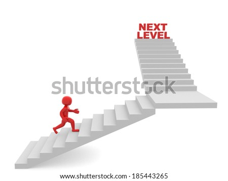 3d man climbs the ladder of next level. 3d render - stock photo
