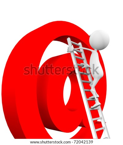 3d man climbs up the stairs on e-mail on a white background. - stock photo