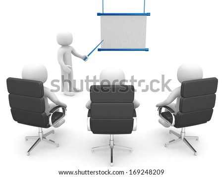3d man, conference, standing near a blank board - 3d render - stock photo