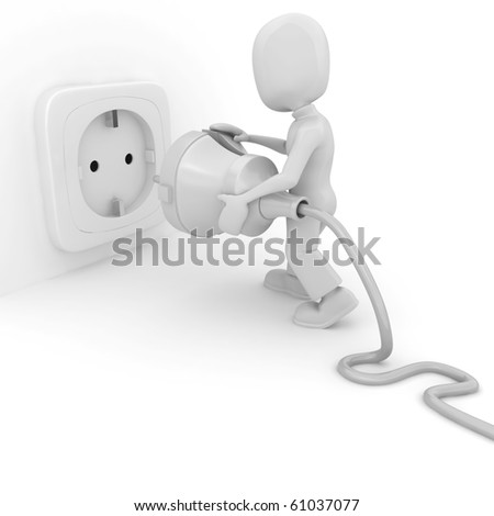 3d man connecting a cable, isolated on white - stock photo
