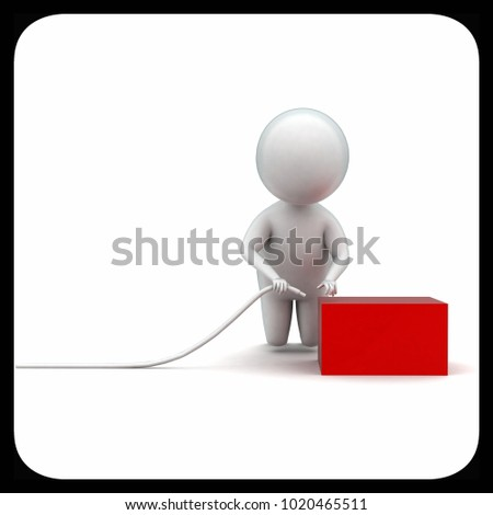 3d man connecting wire to box concept in white isolated background - 3d rendering ,  front angle view