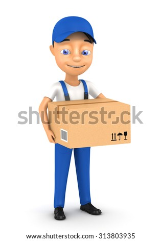 3d man courier with a box on a white background - stock photo