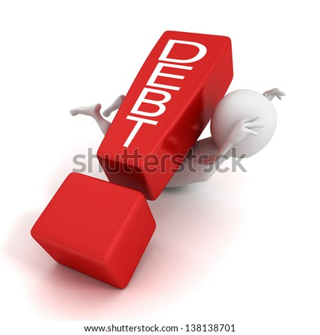 3d man crushed by concept debt red exclamation mark - stock photo