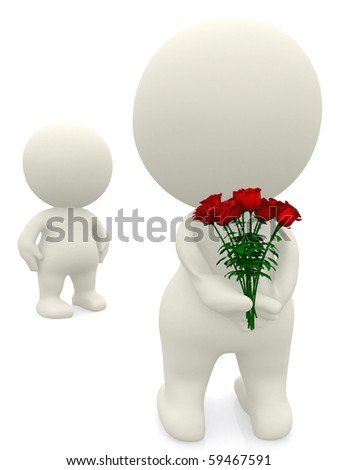 3D man declaring his love giving flowers to his partner - isolated - stock photo