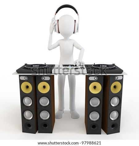 3d man deejay DJ with headphones and big speakers on white - stock photo