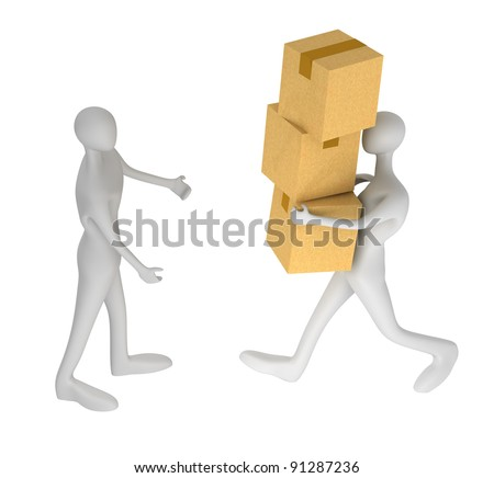3d man delivering a parcel to another 3d man - stock photo