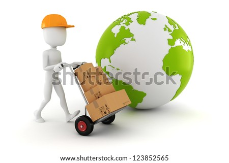 3d man delivering some boxes - stock photo