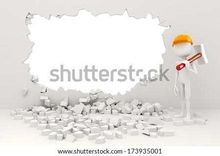 3d man demolishing a wall - stock photo