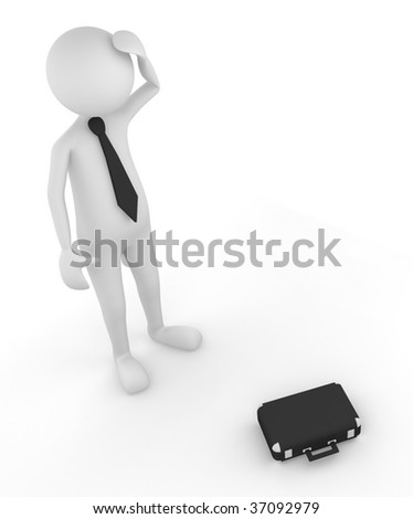 3D man depicting the episode of failure; great for business and reality concepts - stock photo
