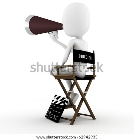 3d man director on stage, ACTION ! - stock photo