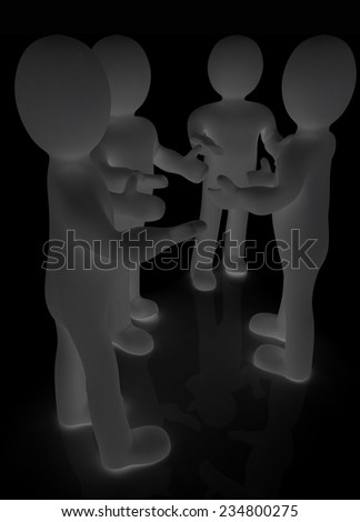 3d man. Discussion on a black background - stock photo