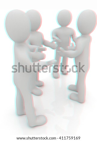 3d man. Discussion on a white background. 3D illustration. Anaglyph. View with red/cyan glasses to see in 3D. - stock photo