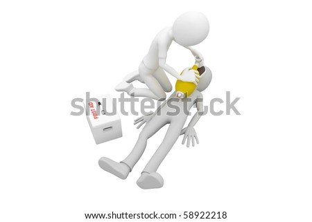 3d man doing artificial respiration first aid