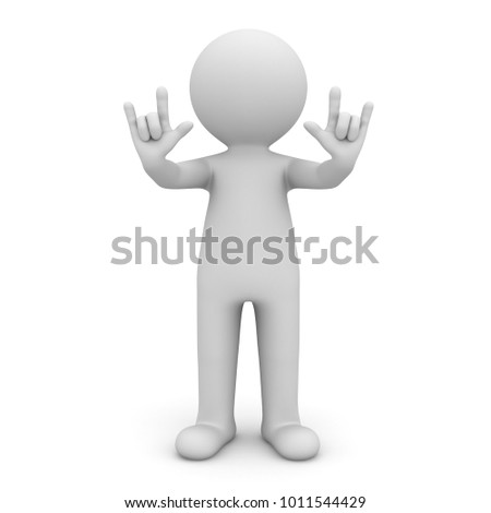 3d man doing I Love You hand gesture isolated over white background. 3D rendering.