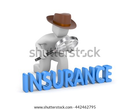 3d man dressed as a detective studies the word insurance. 3d illustration - stock photo