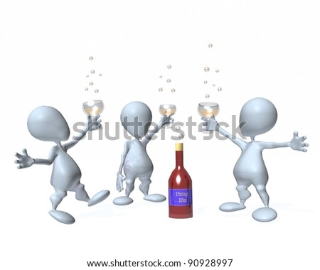 3d man drinking party celebration - stock photo