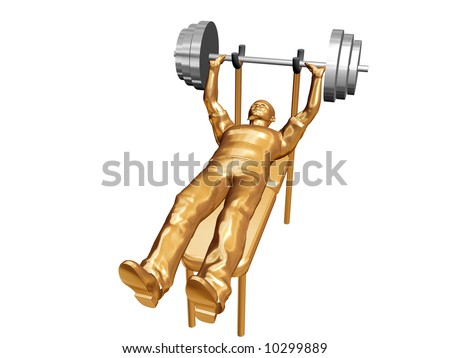 3d man erect bar - stock photo
