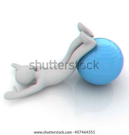 3d man exercising position on fitness ball. My biggest pilates series. 3D illustration. Anaglyph. View with red/cyan glasses to see in 3D. - stock photo
