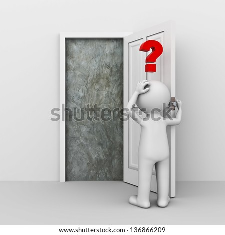 3D Man facing problem concept - stock photo