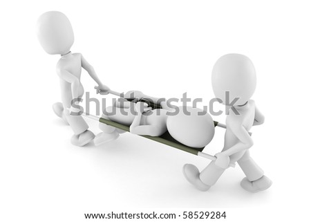 3d man first aid, on white background