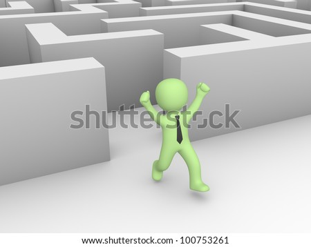 3d man found a way out of a labyrinth - stock photo