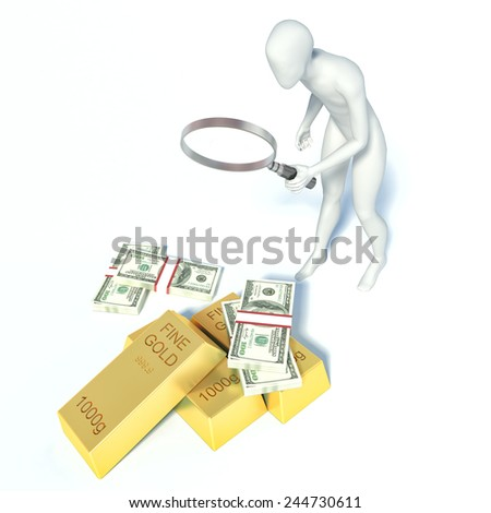 3d man found the money and gold - stock photo
