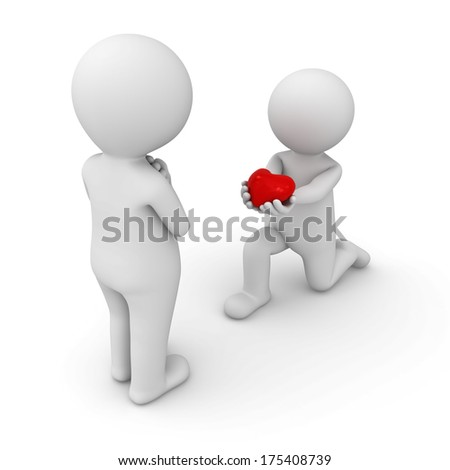 3d man getting down on one knee and giving red heart to his lover on white background