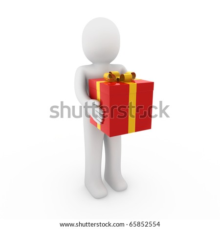 3d man gift box red gold isolated white background