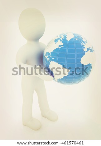 3d man gives earth on a white background. 3D illustration. Vintage style.