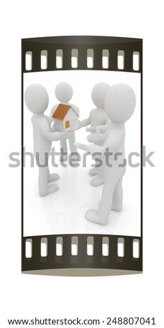 3d man gives house on a white background. The film strip - stock photo