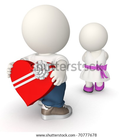 3D Man giving a box of chocolates to his girlfriend on Valentine's day - stock photo