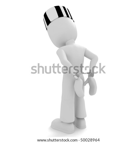 3d man handcuffed - stock photo