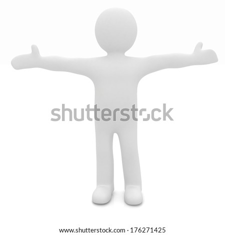 3D man happy man with wide open hands  - stock photo