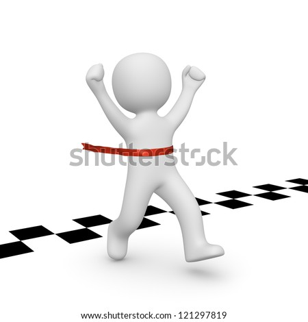 3d man has reached the finish line. 3d rendering. - stock photo