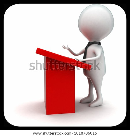 3d man having speech concept in white isolated background - 3d rendering ,  side angle view