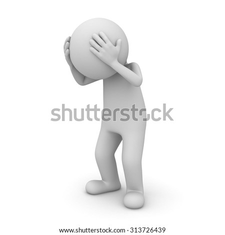 3d man headache isolated over white background - stock photo