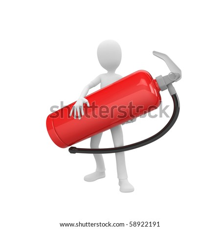 3d man holding a big red fire extinguisher - stock photo