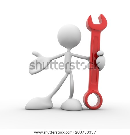 3D man holding a big wrench in hand