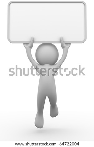 3D man holding a blank board - stock photo