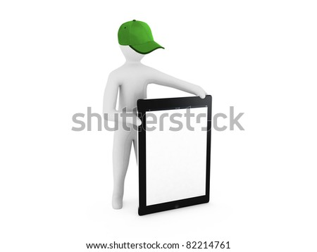 3D man holding a blank tablet pc - stock photo