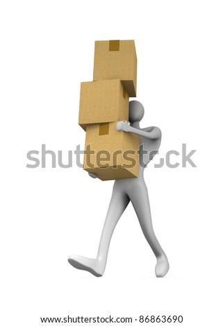 3d man holding a cardboard boxes - stock photo