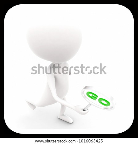 3d man holding a magnifier with go text in it concept on white isolated background , top angle view