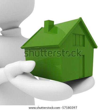 3d man holding a miniature house in his hands - stock photo